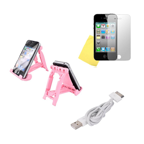 Apple iPhone 4 Combo Package w/ 3Feet Stand, Data Cable and Mirror Screen Protector – (Geeky in Pink Combo)
