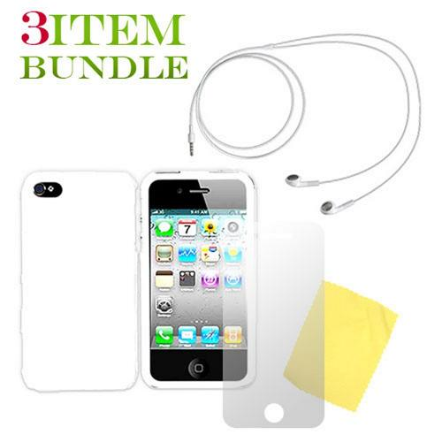 Apple iPhone 4 Combo Package w/ White Case, Screen Protector and Apple Headset