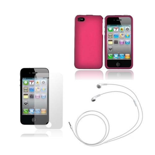 Apple iPhone 4 Combo Package w/ Rose Pink Case, Screen Protector and Apple Headset