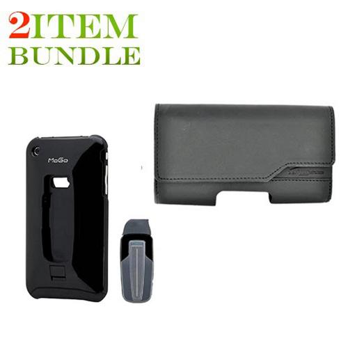AT&T / Verizon iPhone 4, iPhone 4S Bundle Package - MoGo Bluetooth Headset & Case & Horizontal Pouch - (Workaholic Combo)