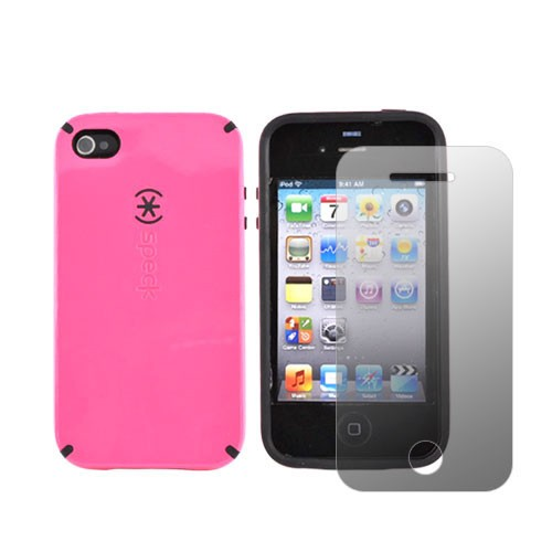 Apple iPhone 4 Combo w/ Speck CandyShell Case & Premium Screen Protector - Love Hate Pink