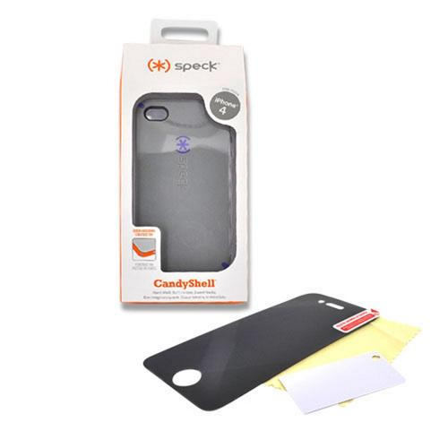 Apple iPhone 4 Combo w/ Speck CandyShell Case & Premium Screen Protector - PaleMoon Gray