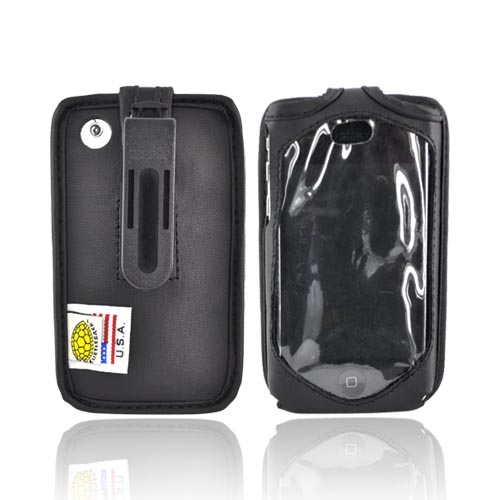 Original TurtleBack Premium Apple iPhone 3G 3GS Leather Case w/ Swivel Clip - Black