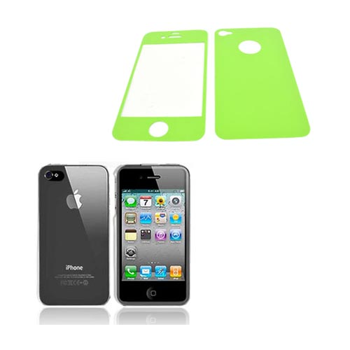 AT&T/ Verizon Apple iPhone 4, iPhone 4S Basic Bundle w/ Clear Hard Case & Screen Protector & Protective Skin (Front & Back) - Lime Green