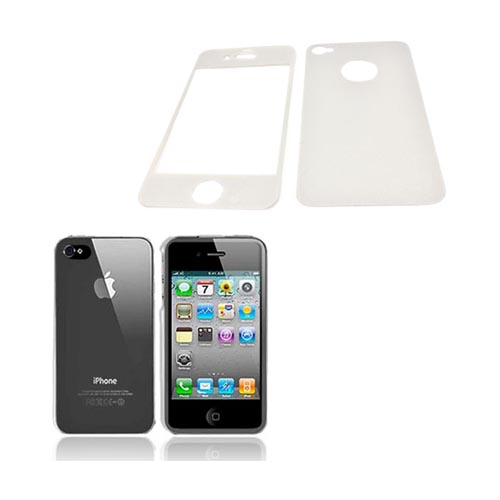 AT&T/ Verizon Apple iPhone 4, iPhone 4S Basic Bundle w/ Clear Hard Case & Screen Protector & Protective Skin (Front & Back) - Silver