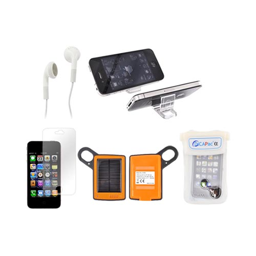 AT&T/ Verizon Apple iPhone 4, iPhone 4S Summer Bundle Beertastic Package w/ Black iLuv Portable Speaker, Black Bottle Opener Case, Gold Beer Rubberized Hard Case, Anti-Glare Screen Protector, & Solar Charger