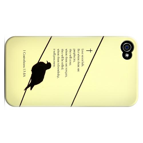 Geeks Designer Line (GDL) Bibles Series Apple iPhone 4 Matte Hard Back Cover - Corinthians 13:8A