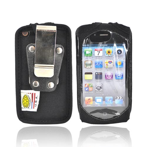 Original TurtleBack Premium Apple iPhone 4 Heavy Duty Nylon Case w/ Steel Belt Clip - Black