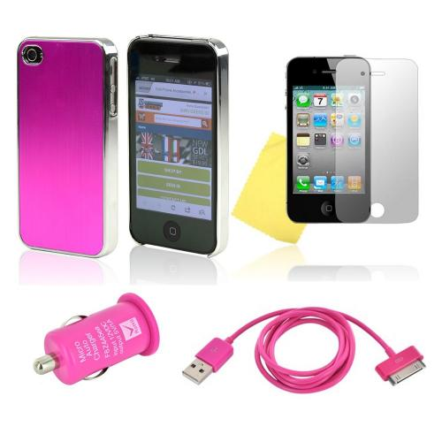 At&t / Verizon Apple Iphone 4, Iphone 4s Hot Pink Combo W/ Hard Case W/ Hot Pink Aluminum Back, Hot Pink Data Cable, Hot Pink Usb Car Adapter