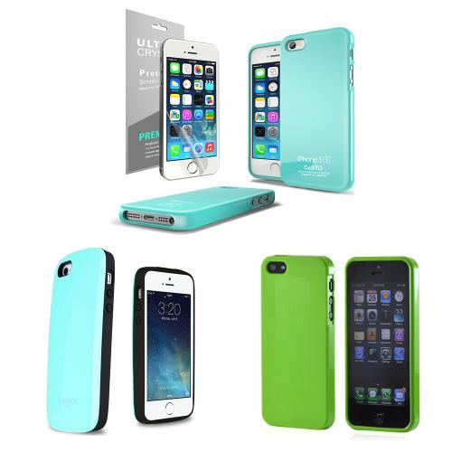[3 Cases Combo] [Mint/ Green] Apple iPhone SE/5/ 5S Combo w/ Premium Card Slot Case + Two TPU Crystal Silicone Skin Case