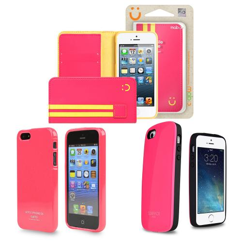 [3 Cases Combo] [Pink] Apple iPhone 5/ 5S Combo w/ Premium Card Slot Case + TPU Crystal Silicone Skin Case + Wallet Case