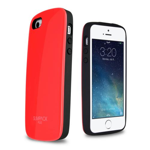 [3 Cases Combo] [Red] Apple iPhone 5/ 5S Combo w/ Premium Card Slot Case + Crystal Silicone Skin Case + Slim Bumper Case