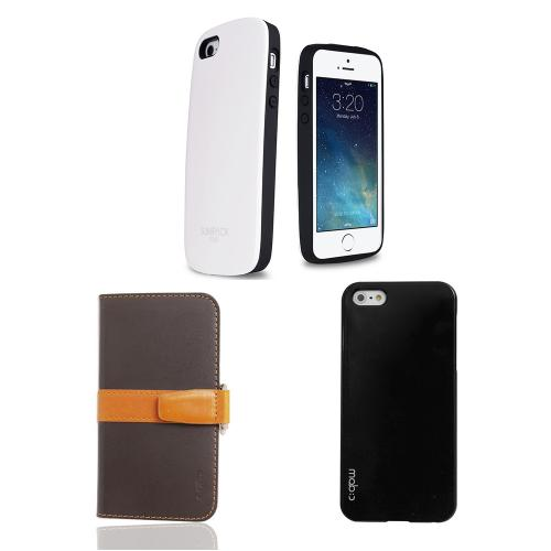 [3 Cases Combo] [White/ Brown] Apple iPhone SE/5/ 5S Combo w/ Premium Card Slot Case + Wallet Case + Hard Case