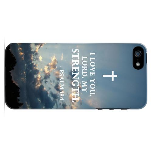 Geeks Designer Line (GDL) Bibles Series Apple iPhone 5 Slim Hard Back Cover - Psalm 18:1