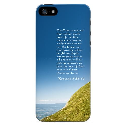 Geeks Designer Line (GDL) Bibles Series Apple iPhone 5 Slim Hard Back Cover - Romans 8:38-39