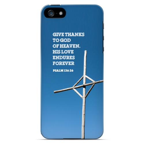 Geeks Designer Line (GDL) Bibles Series Apple iPhone 5 Slim Hard Back Cover - Psalm 136:26