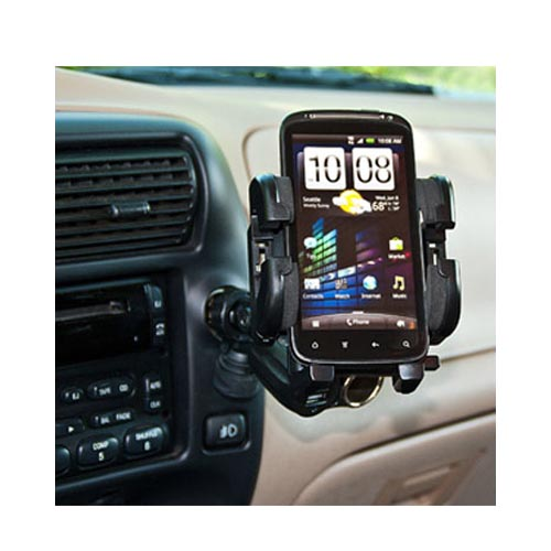 Original Bracketron Universal Adjustable Phone Holder w/ Charger/ Socket/ Auxiliary Port, IPM-197-BL - Black