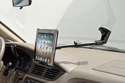 Arkon Black iPad 4 Mount - Rigid Ext. Windshield Mount with Custom iPad 3 and 2 Holder (IPM3-CFH + CM117-SBH)