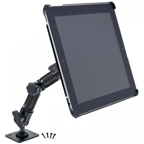 "Arkon Black iPad 4 Mount - Heavy Duty 8"" Wall or Flat Surface Mount for iPad 3 and 2 (IPM3-CFH + HD006)"