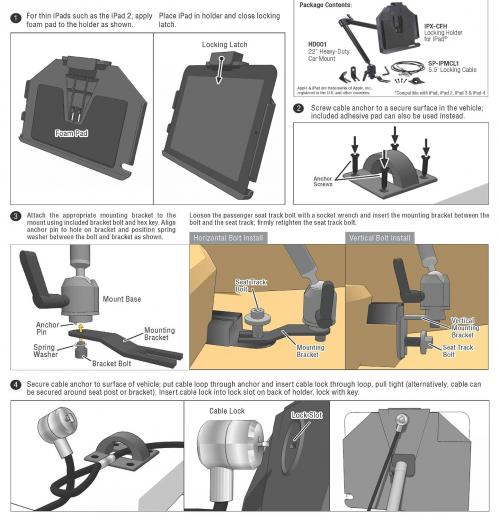 "Arkon Black iPad Cable Lock Mount - (IPMCL-CFH + HD001) 22"" Heavy Duty Locking Seat Rail / Floor Mount in Retail Box"