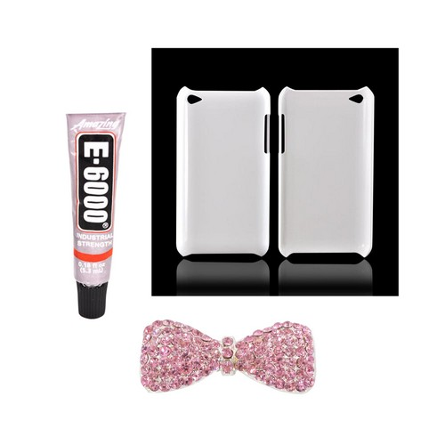Apple iPod Touch 4 DIY Essential Bundle w/ Glossy White Ultra Slim Hard Case, Pink Bling Bow, & E-6000 Glue