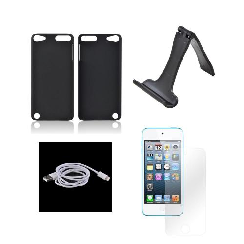 Apple iPod Touch 5 Essential Bundle Package w/ Black Rubberized Hard Case, Screen Protector, Portable Stand, & Charge n' Sync Lightning Cable