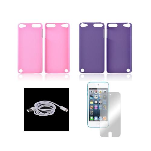 Apple iPod Touch 5 Essential Girly Bundle Package w/ Pink & Purple Rubberized Hard Case, Mirror Screen Protector, & Charge n' Sync Lightning Cable