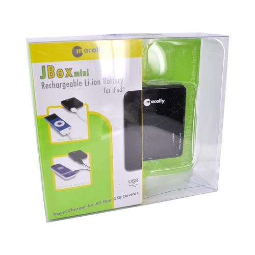 Macally Black JBoxMini Universal Compact External Li-ion Battery w/ USB Port (1A) - JBOXMINI