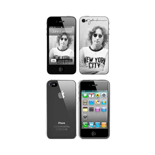 iPhone 4, iPhone 4S Music Skins Bundle Package w/ John Lennon NYC & iPhone 4, iPhone 4S Clear Hard Case