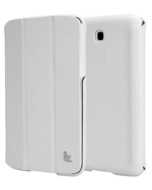Jisoncase White Handmade Vegan Friendly Leatherette Smart Cover Case for Samsung Galaxy Tab 3 7.0