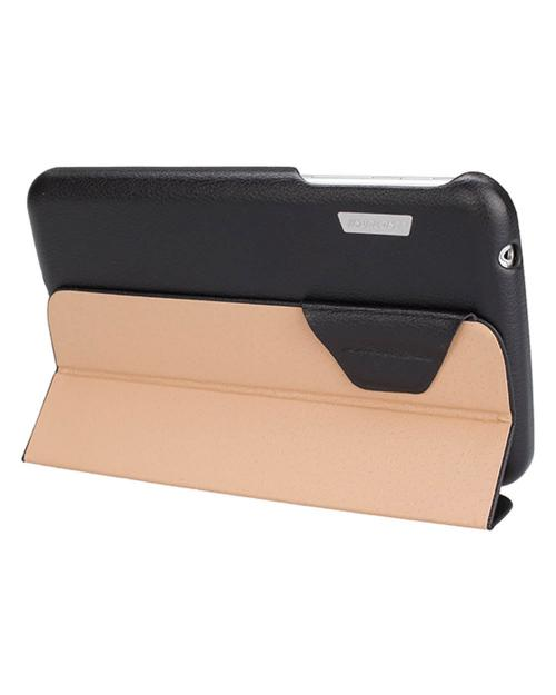 Jisoncase Black Handmade Vegan Friendly Leatherette Smart Cover Case for Samsung Galaxy Tab 3 7.0
