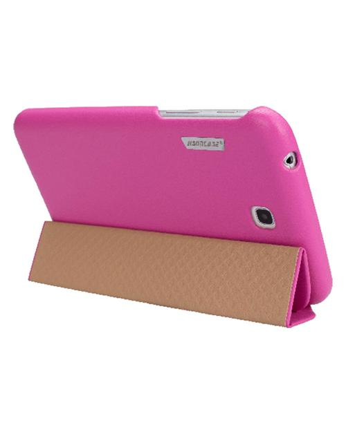 Jisoncase Rose Pink Handmade Vegan Friendly Leatherette Smart Cover Case for Samsung Galaxy Tab 3 7.0