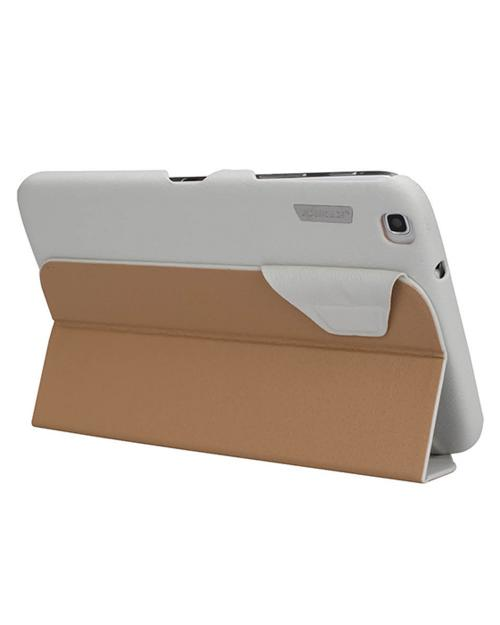 Jisoncase White Handmade Vegan Friendly Leatherette Smart Cover Case for Samsung Galaxy Tab 3 8.0