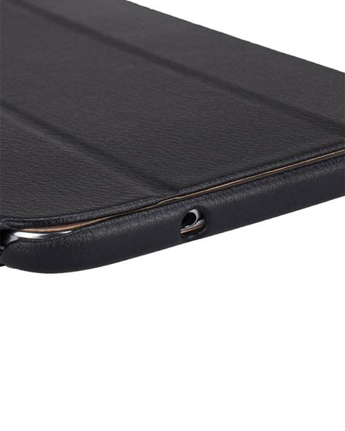 Jisoncase Black Handmade Vegan Friendly Leatherette Smart Cover Case for Samsung Galaxy Tab 3 8.0