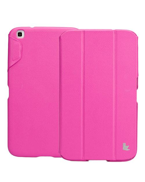 Jisoncase Rose Pink Handmade Vegan Friendly Leatherette Smart Cover Case for Samsung Galaxy Tab 3 8.0