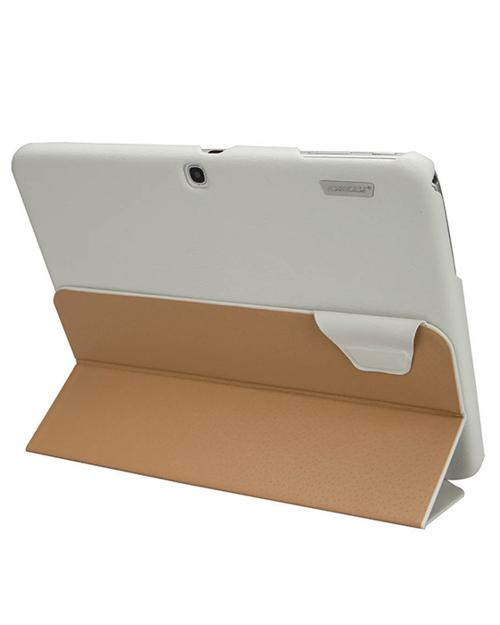 Jisoncase White Handmade Vegan Friendly Leatherette Smart Cover Case for Samsung Galaxy Tab 3 10.1