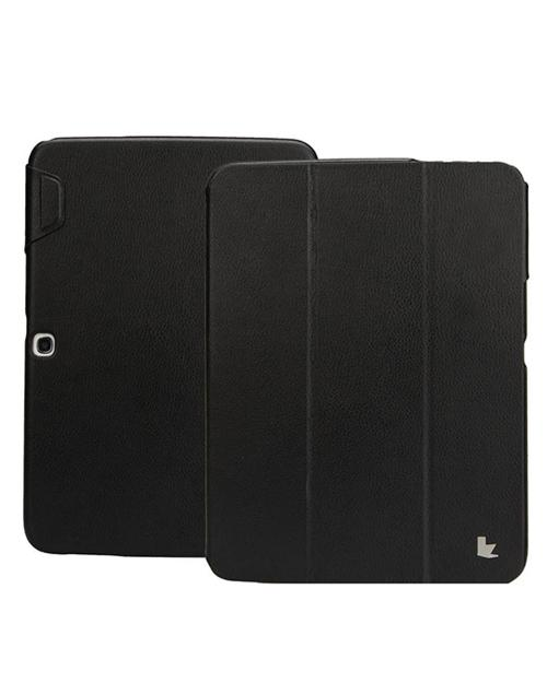 Jisoncase Black Handmade Vegan Friendly Leatherette Smart Cover Case for Samsung Galaxy Tab 3 10.1