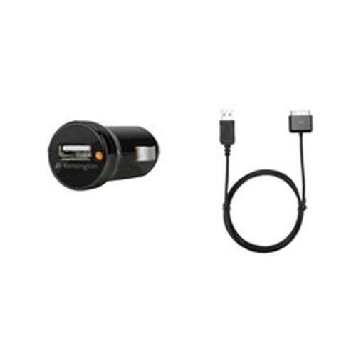 Original Kensington PowerBolt Car Charger w/ USB Port Car Charger and Detachable USB Cable, K39243US - Black