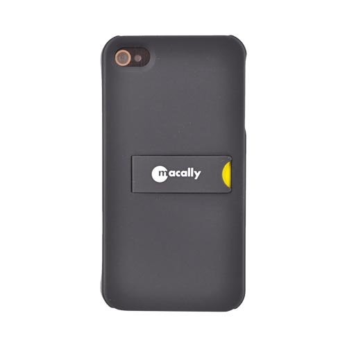 Original Macally AT&T/Verizon Apple iPhone 4 Rubberized Hard Back Cover Case w/ Stand, KICKSTANDP4 - Black/Yellow
