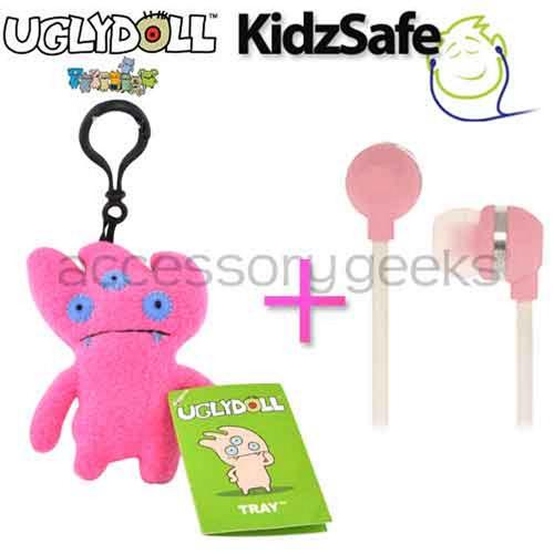 UGLYDOLL Tray Charm + Kidzsafe KonoAudio Pink 3.5mm Headset, COMBO for PINK Lovers