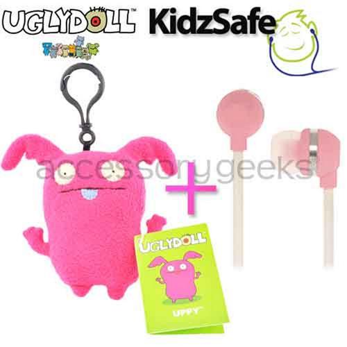 UGLYDOLL Uppy Charm + Kidzsafe KonoAudio Pink 3.5mm Headset, COMBO for PINK Lovers