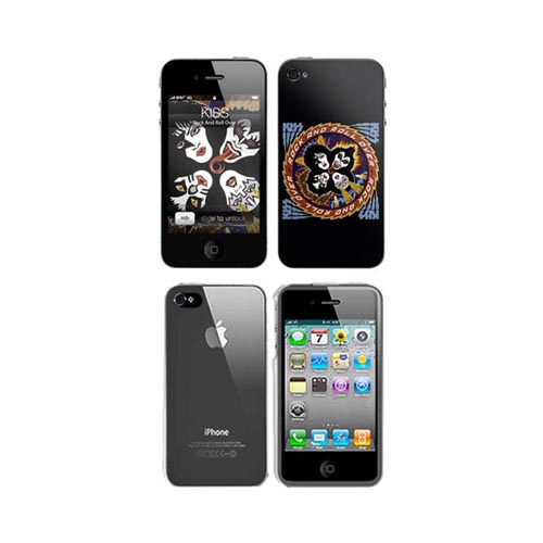 iPhone 4, iPhone 4S Music Skins Bundle Package w/ Kiss Rock & Roll Over & iPhone 4, iPhone 4S Clear Hard Case