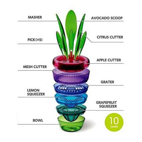 Flower Pot Multi Kitchen Tool Set - Multi Utility Grater with 10 Highly Functional Tools!