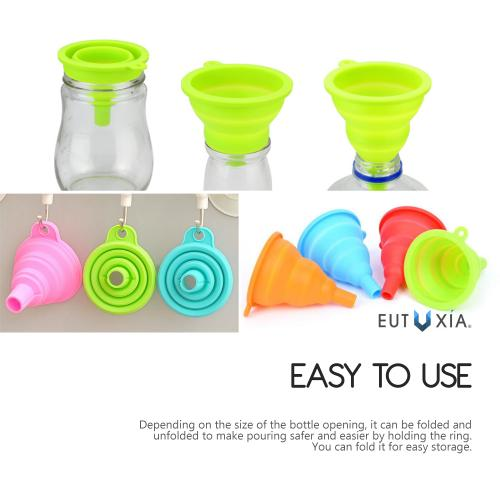 Mini Silicone Foldable Collapsible Style Funnel [Neon Green]