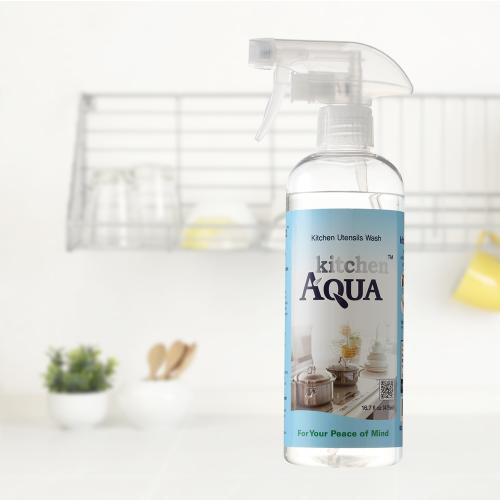 Kitchen AQUA 100% Non-Toxic, No Odor, Chemical-Free All Natural Kitchen Cleaner Cuts Through Grease, Kills All Germs & Bacteria [16.7 oz.]