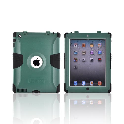 Original Trident Kraken Apple iPad 2 Hard on Silicone Case w/ Built-In Screen Protector, KKK2-IPAD-2-BG - Green/ Black