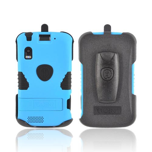 Original Trident Kraken Motorola Atrix 4G Anti-Skid Hard Cover on Silicone Case w/ Built-In Screen Protector, Kickstand, & Holster, KKN2-ATRX-BL - Blue/ Black
