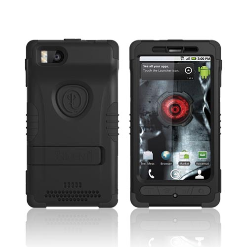 Original Trident Kraken 2 Motorola Droid X MB810/ X2 Anti-Skid Hard Cover Over Silicone w/ Holster & Built-In Screen Protector, KKN2-DX2-BK - Black