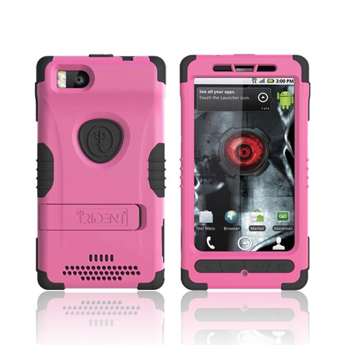 Original Trident Kraken 2 Motorola Droid X MB810/ X2 Anti-Skid Hard Cover Over Silicone w/ Holster & Built-In Screen Protector, KKN2-DX2-PK - Pink/ Black