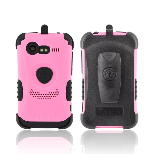 Original Trident Kraken HTC Droid Incredible 2 Rubberized Hard on Silicone Case w/ Built-In Screen Protector & Holster, KKN2-INC-S-PK - Pink/ Black